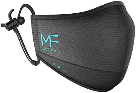 Hubble MaskFone - Face Protection with Wireless Headphones & Mic, 4 Layer Filter System, Volume Control - 12H Battery Life, IPX5 Waterproof - Alexa Compatible - Size S/M