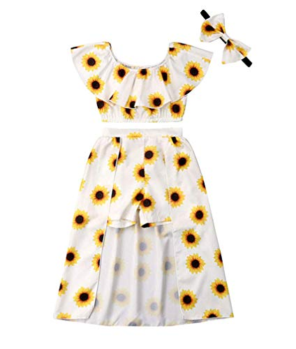 Baby Girls' Sunflower Print Ruffles Off-Shoulder Tops with Shorts Dress Skirts Headband Sets Outfits Clothes White ()