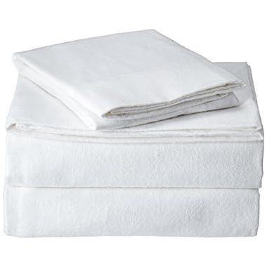 Brielle 100-Percent Cotton Flannel Sheet Set, Queen, White