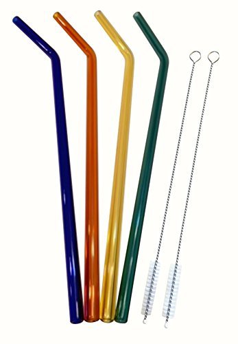 Teenie Greenie Extra Long Bent Glass Straws 12 in x 9.5 mm, 4 Pack, Shatter Resistant, Pyrex-Glass + 2 Cleaning Brushes -No BPA-, Non-Toxic, Reusable, Eco-Friendly, 4 Fun Colors