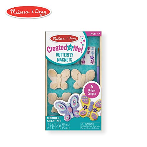 Melissa & Doug Created by Me! Butterfly Magnets, Arts & Crafts, Easy to Assemble, Supplies for 4 Projects, 8.75