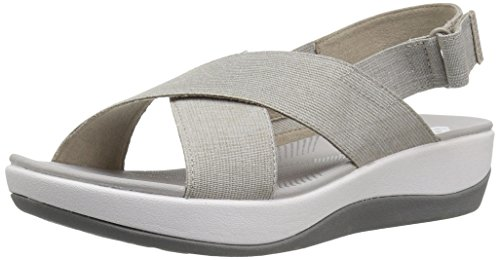 CLARKS Women's Arla Kaydin Sandal, Sand/White Heathered Elastic, 9 Wide US by CLARKS