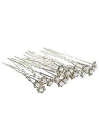 UHBGT 20Pcs Wedding Bridal Pearl Flower Rhinestone Hair Pins Clips Bridesmaid