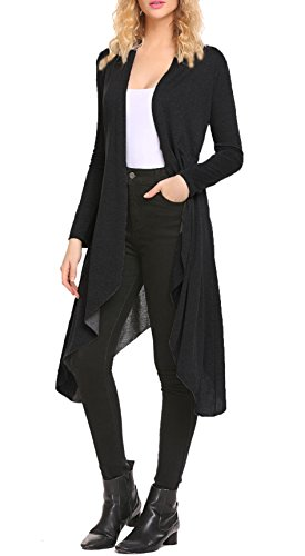 Black Duster Jacket - SimpleFun Women's Long Maxi Cardigan Sweater Casual Open Front Knit Cardigan Jacket (XL, Black)