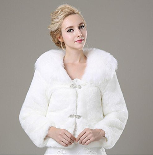 on sale Women's White Faux Fur Coats for Wedding Party Winter ...