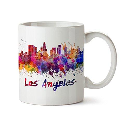 Souvenir Mug Cup - Los Angeles City Silhouette View Colorful Watercolor Design Coffee Mug - Ceramic - 11 oz - Los Angeles Souvenir Cup Mom, Dad, Boyfriend, Girlfriend