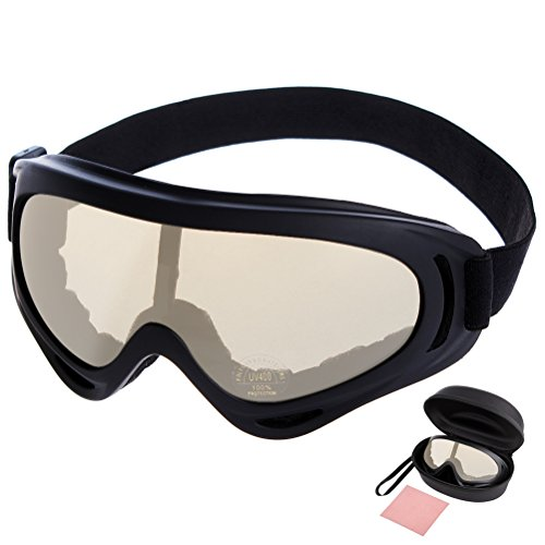 Ski Goggles Fog-Resistant Anti-Impact UV Protective Motorcycle Cycling Glasses-HEYFIT Unisex Windproof with Case Cleaning Cloth Clear Safety for Outdoor Sports Biking Skiing - Shape Styles Spectacle Face