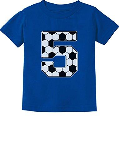 Tstars - Soccer 5th Birthday Gift for 5 Year Old Toddler Kids T-Shirt 5/6 Blue