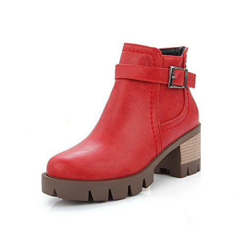 Red Heels Outdoor Platform Womens Leather Kitten Boots Imitated AdeeSu q4Bp8RccO