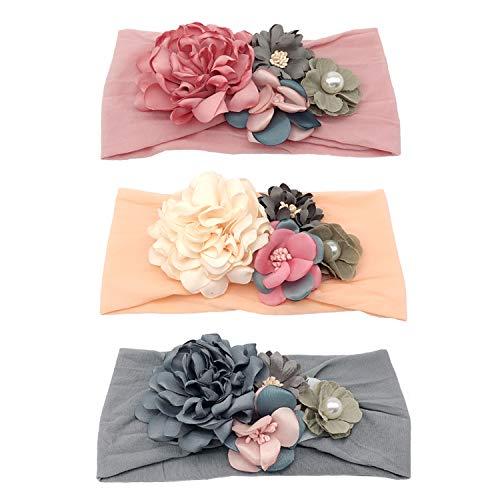 (Elesa Miracle Baby Girl Headband Boutique Floral Turban Headbands Kids Little Girl Floral Headband)
