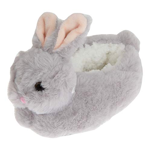 SlumberzzZ Childrens/Kids Fluffy Bunny Rabbit Slippers (1-2 US) (Gray)