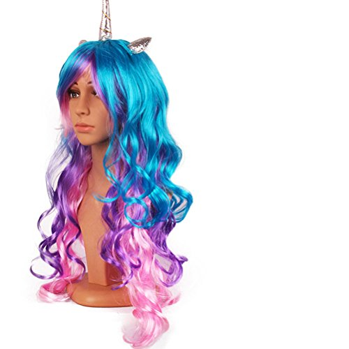 Unicorn Cosplay Wig Multi-Color Lolita Wigs Ponytail Long Curly for Women Halloween Costumes Party Hair Accessories (Silver horn) -