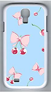 Samsung Galaxy S4 I9500 White Hard Case - Bow And Cherries Galaxy S4 Cases