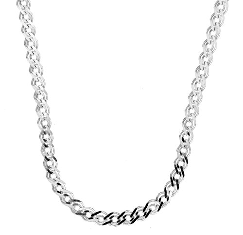 Double Curb Chain (Sterling Silver Italian Diamond Cut Double Curb Chain)