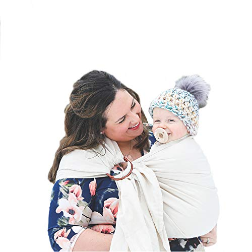 Nalakai Luxury Ring Sling Baby Carrier - Extra-Soft Bamboo and Linen Fabric - Lightweight wrap - for Newborns, Infants and Toddlers - Perfect Baby Shower Gift - Nursing Cover (Earth Mama Cream)