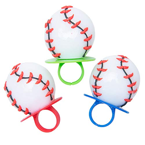 Baseball Shaped Sports Ring Pop Lollipops, 1.5 oz, 3 Packs of 3