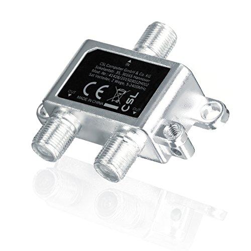 CSL - SAT Verteiler Voll geschirmt (2-Wege), 5-2400 MHz / digital-tauglich - - SAT splitter/distributor (2-way) - 2-fach Verteiler für Satelliten-Anlagen (SAT-TV / DVB-S2) + BK + UKW Hörfunk (Radio) - DC-Durchlass - 5-2400 MHz Frequenzbereich - Erdungsanschluss - Satelliten Verteiler