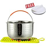 Steamer Basket for Instant Pot Accessories 6 qt, Fits InstaPot, Ninja Foodi, Strainer Insert for Insta Pot Ultra 6 Qt, with Multipurpose Silicone Mat, 100 Pcs Premium Parchment Steamer Paper for Free
