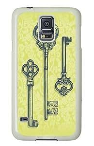 Samsung Galaxy S5 Case,Three Skeleton Keys Custom PC Hard Case Cover for Samsung S5/Samsung Galaxy S5 White