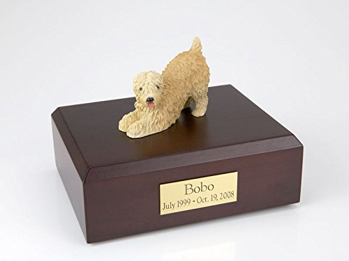 (GENUINE North American Hardwood and Soft Coated Wheaten Playing Dog Figurine Urn Medium)