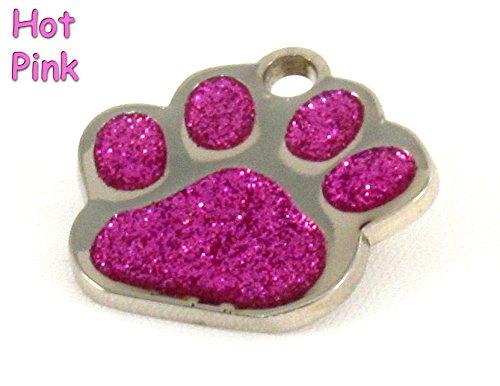 - io tags Glitter Paw Print Bling Pet ID Tag, Custom Engraved (Pink)