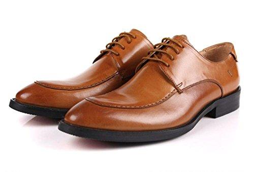 Hombres Otoño Invierno británico Tobillo Botas Al aire libre Cuero Zapatos Puntiagudo Formal Vestir Boda Banquete Cordón Negro marrón Brown