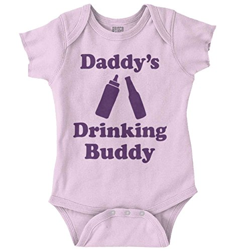 (Brisco Brands Daddy Drinking Buddy Funny Bottle Milk Beer Romper Bodysuit Pink)