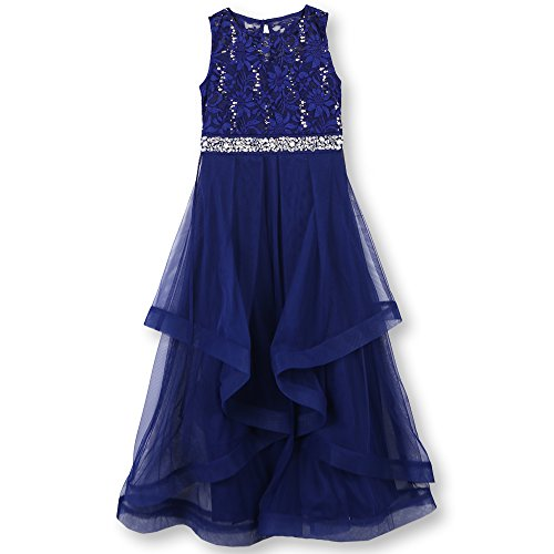 Speechless Girls' Big 7-16 Tween Maxi Dress with Wide Ribbon Hem Formal Dance and Party, Cobalt Silver, 7]()