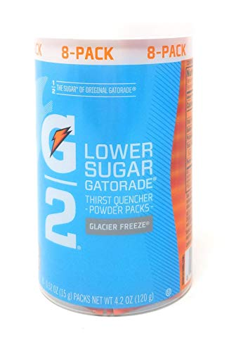 Gatorade G2 Low Calorie Powder Packs Glacier Freeze, 8 - 0.52 Oz Packets (Pack of 2, Total of 16 Packets)