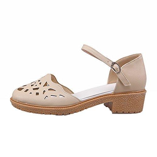 AalarDom Mujer Puntera Cerrada Mini Tacón Pu Sólido Hebilla Sandalias de vestir Albaricoque