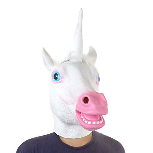 Unicorn Halloween Latex Animal Head Mask for Costume Cosplay Party White & Pink]()