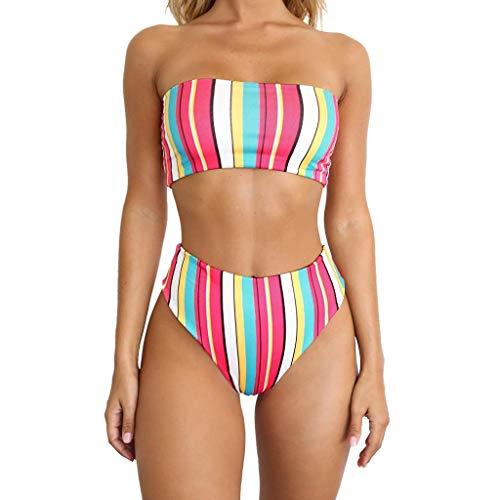 POTO Women Bikini Sets Two Piece Embroidered Rose High Waist Swimsuit Bathing Suit Tankini Swimwear