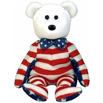 77bc9b5f2f2 Amazon.com  Ty Beanie Babies - Liberty the White Teddy Bear (USA ...