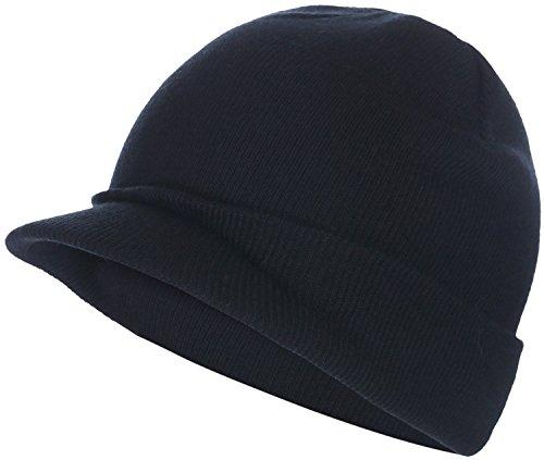 Visor Brim Beanie (BODY STRENTH Visor Beanie Hat Knitted newsboy Stocking Cap With Bill For Men Women Black)