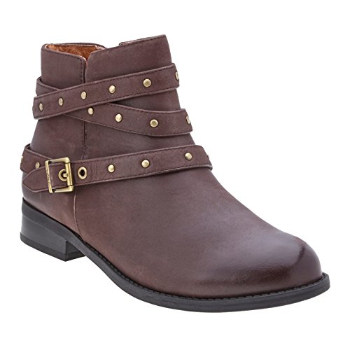 Vionic Java Country Leather Lona Toe Round Booties Womens 7x0qr6w87