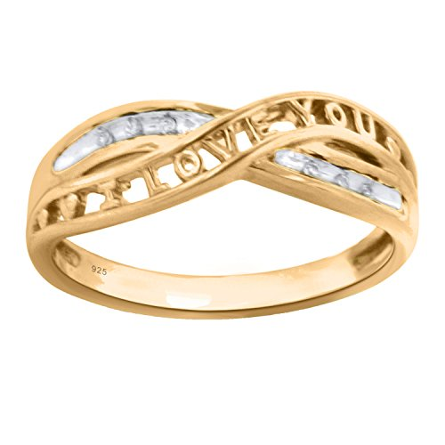 Sterling Silver with 14K Yellow Gold Plate Diamond Accent Anniversary Ring