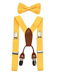 JAIFEI Toddler Kids 4 Clips Adjustable Suspenders and Matching Bow Tie Set (Yellow)