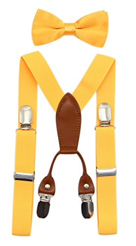 JAIFEI Toddler Kids 4 Clips Adjustable Suspenders and Matching Bow Tie Set -