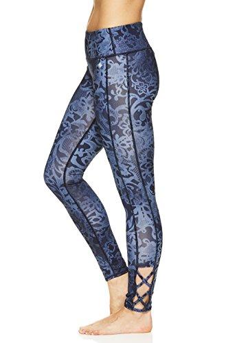 Nicole Miller Active Women's 7/8 Workout Leggings Performance Activewear Pants w/Elastic Inserts - Spitze Light Denim Blue, X-Small