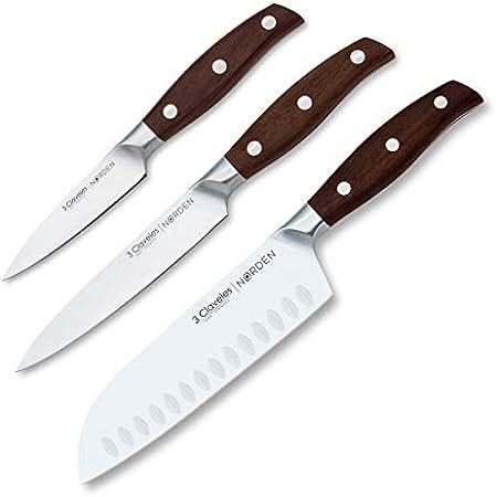 3 Claveles - Juego de 3 Cuchillos Profesionales en Acero Inoxidable Gama Norden, Selección Premium