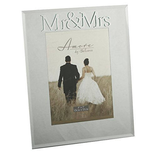 Oaktree Gifts Mirrored Photo Frame with 3D Mirrored Letters Mr & Mrs 5 x 7 (Mirrored Wall Letters)