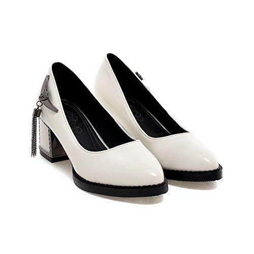 Amoonyfashion Dames Pull-on Kitten-hakken Pu Stevige Puntige Dichte Teen Pumps-schoenen Wit
