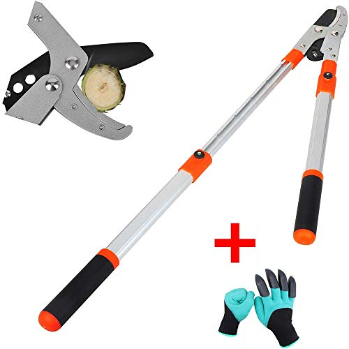 Zhenpony Pruning Loppers,Garden loppers Pruning Tree Pruner with SK-5 High Carbon Steel Blades Telescoping Aluminium Lightweight Handle Branch Cutter,Tree Trimmer, Hand loppers (Orange, 68.0)