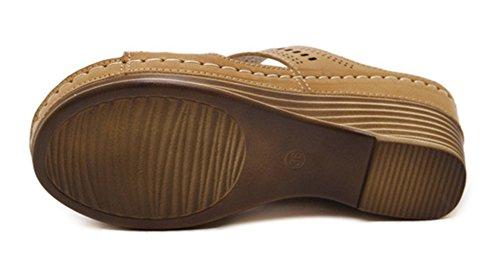 Aisun Women's Comfy Open Toe Mule Sandals Brown eUI9esE0p