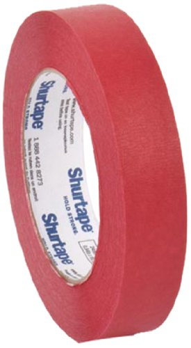 """Pratt Plus CP 632 Shurtape Commercial Premium Heavy Duty Paper Masking Tape, 22 lbs/inch Tensile Strength, 60 yds Length x 1"""" Width, 3"""" Core, Red (Pack of 12)"""