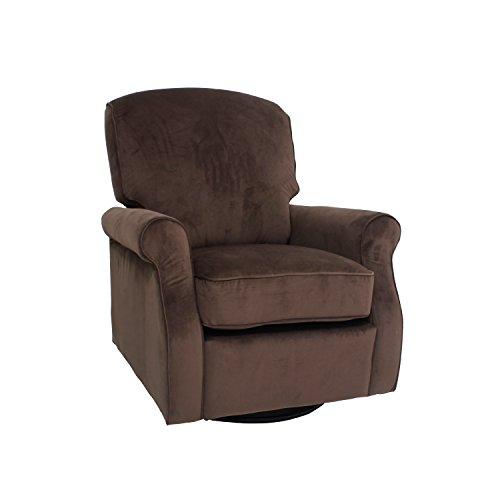 eBello Home Furnishings Swivel Glider Chair, Fabric, Chocolate, Standard