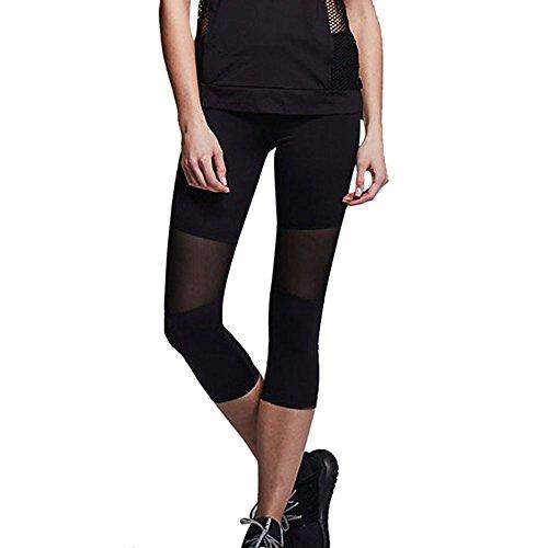 (CUCUHAM Women Skinny Leggings Patchwork Mesh Yoga Leggings Fitness Sports Capri Pants(Black,X-Large))