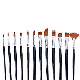 DOLAIMI 12Pcs Nylon Professional Paint Brushes For Watercolor Acrylic Face Painting Oil Painting Kits For Kids Student Beginner Hobby