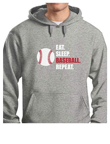 - TeeStars - Eat Sleep Baseball Repeat Best Gift for Baseball Fans Hoodie Medium Gray