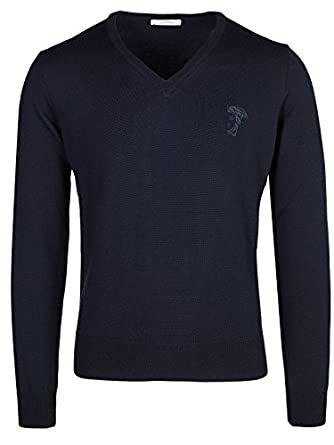 Amazon.com: Versace Collection Navy V-neck Wool Sweater: Clothing